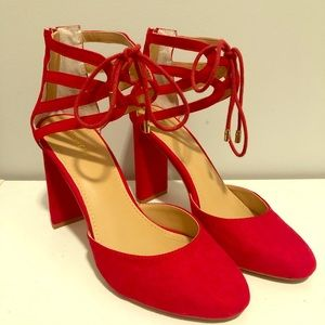 Red Chunky Suede Heel